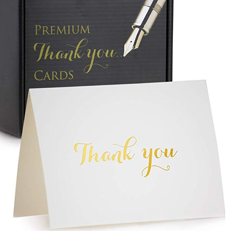 Meishi-Find Custom greeting Thank You Cards in gold foil embossed lettering
