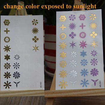 UV color changing temporary tattoo sticker