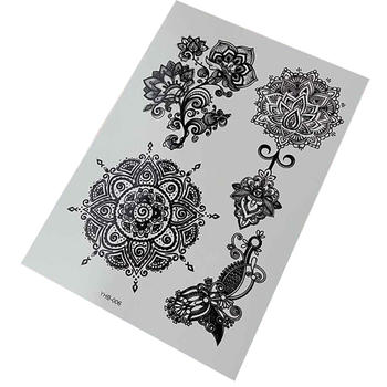 Sexy black white henna lace temporary tattoos sticker body art make up for men women fake tattoo paper waterproof