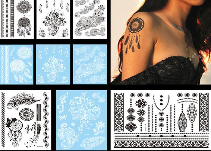 Meishi-Sexy Black White Henna Temporary Tattoo sticker body art for adult-1