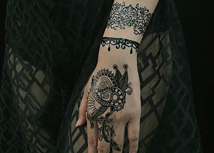 Meishi-Sexy Black White Henna Temporary Tattoo sticker body art for adult-2