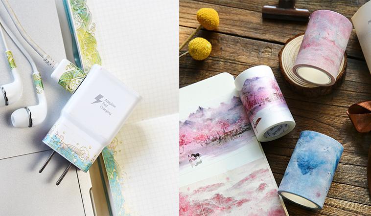 Meishi-Custom printed decorative colourful DIY craft notebook washi tape