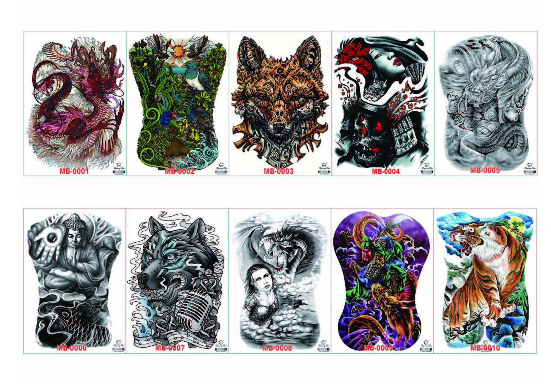Meishi-High-quality Temporary Tattoo Printing | Full Back Temporary Tattoo For Men