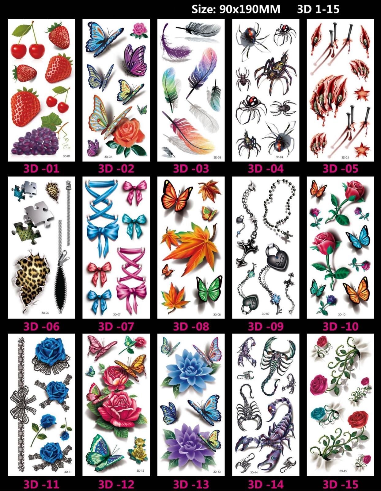 Meishi-Custom Tattoo Sticker Beautiful 3d Tattoo Temporary Tattoo Sticker-4