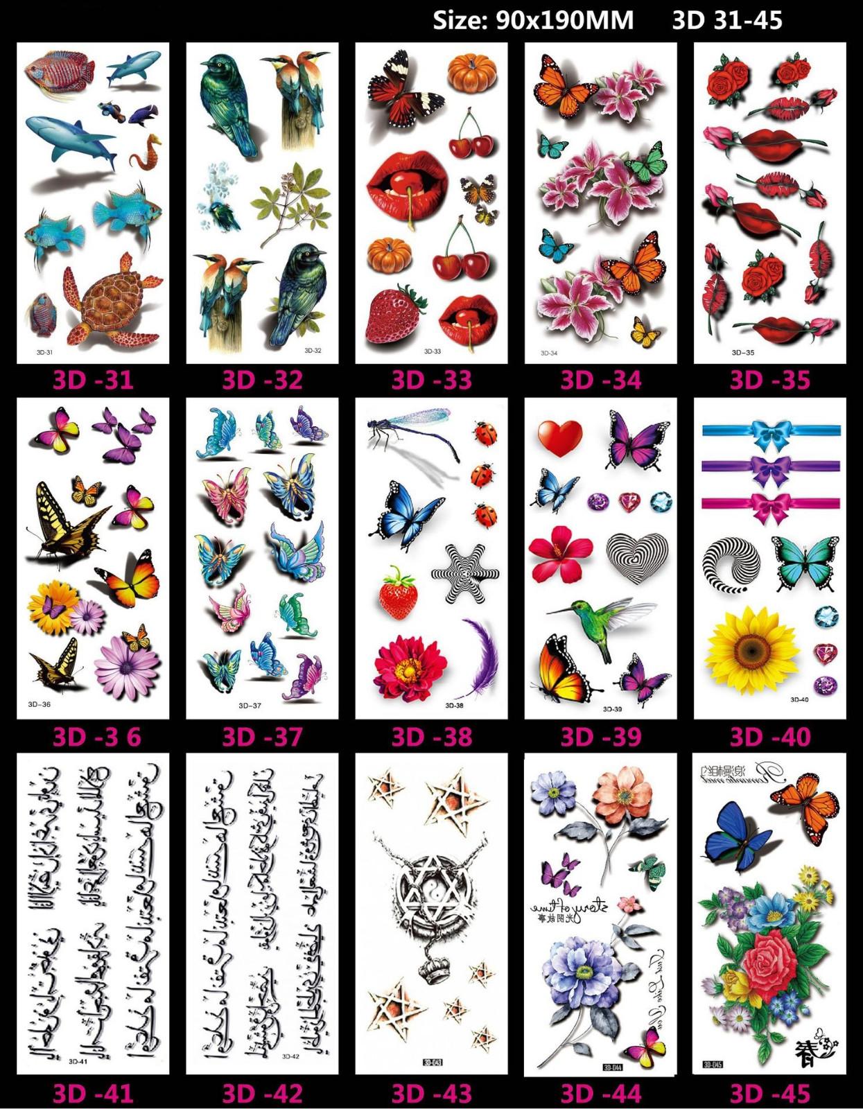 Meishi-Custom Tattoo Sticker Beautiful 3d Tattoo Temporary Tattoo Sticker-5